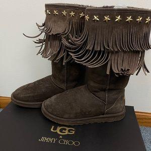 Jimmy Choo x UGG Star Embellished Fringe Boots